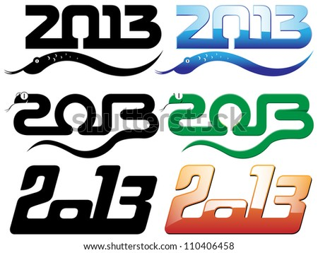set of 2013 new year of snake text designs