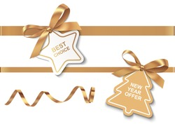 Set of New Year or Christmas Sale tags with golden ribbon and bow on white background. Vector illustration. Holiday decoration