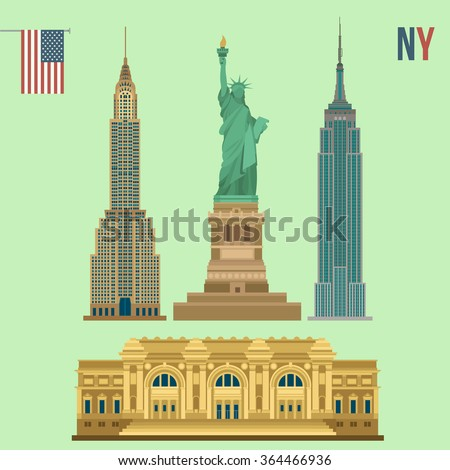 Set of New York Famous Buildings: Statue of Liberty, Metropolitan Museum of Art, Empire State Building, Chrysler. Vector illustration