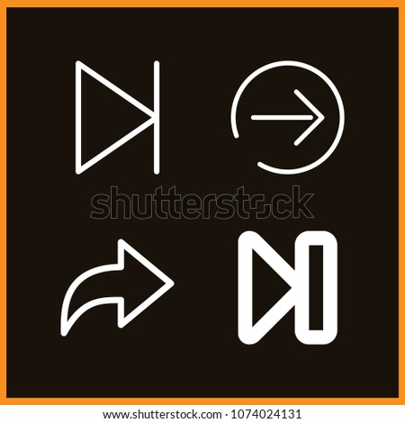 Set of 4 next outline icons such as next, next page
