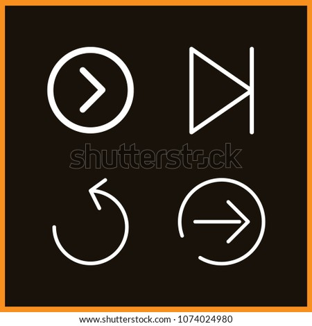 Set of 4 next outline icons such as next page, next, right arrow