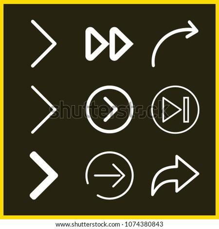 Set of 9 next outline icons such as next, right arrow, share, skip, next page