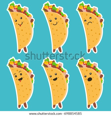 set of nice emotional taco