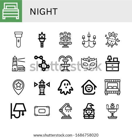 set of night icons such as bed
