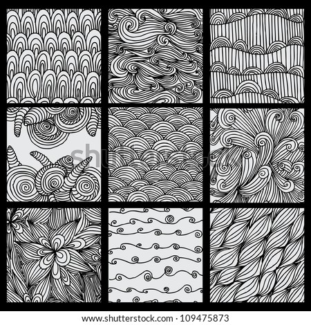 Set of nine black and white wave patterns (seamlessly tiling).Seamless pattern can be used for wallpaper, pattern fills, web page background,surface textures. Gorgeous seamless wave background