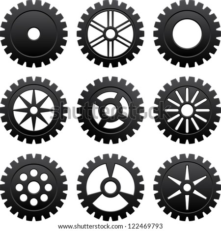 Set of nine black gears different forms