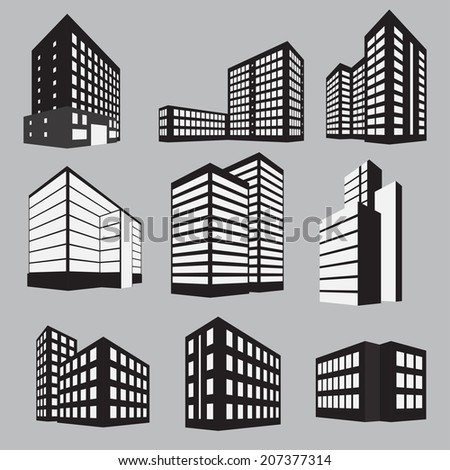 Set of nine building icons: black and white on grey background. Vector illustration