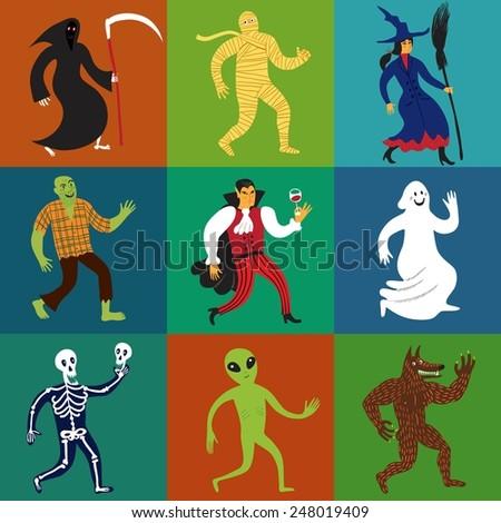 set of nine cartoon monster