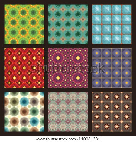 set of nine  color geometrical patterns (seamlessly tiling) . seamless retro geometric pattern