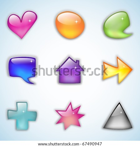 Set of nine colored glossy web element or buttons