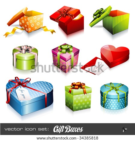 set of nine colorful vector gift boxes - stock vector