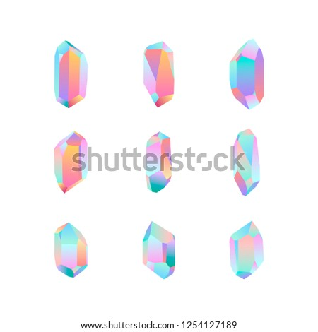 set of nine crystal design elements