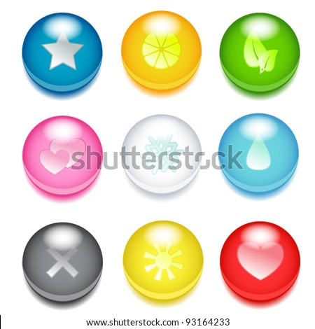 Set of nine 3d colored icons with different signs