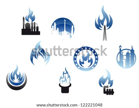 Set of nine different energy icons with gas flames depicting a petrochemical plant, industry with chimneys, domestic consumption and heating. Jpeg version also available in gallery
