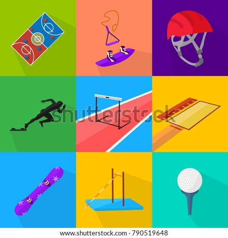 set of nine flat design sport