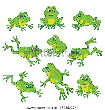 set of nine funny frogs in
