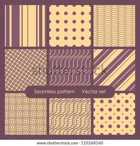 Set of  nine geometric patterns. Seamless textures