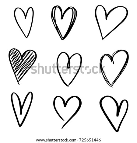 set of nine hand drawn heart