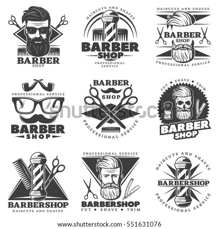 Set of nine isolated vintage barber hipster labels with oldstyle decorative symbols signs and professional equipment vector illustration