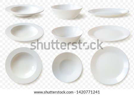 set of nine isolated white porcelain plates vector mockup in a realistic style on transparent background dining set of round dishes in different angles convenient templates for your food demonstration