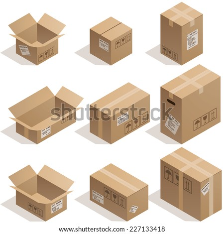 Shutterstock Set of nine isometric cardboard boxes isolated on white. Eps8. CMYK. Organized by layers. Global colors. Gradients used.