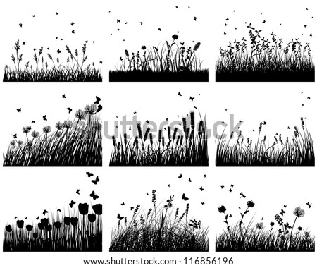 set of nine meadow background