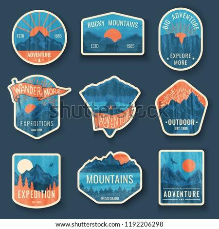 set of nine mountain travel