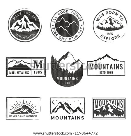 set of nine mountain travel