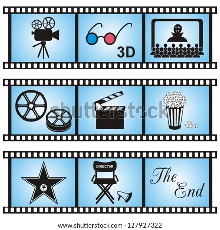 Set of nine movie icons in blue film-stripes