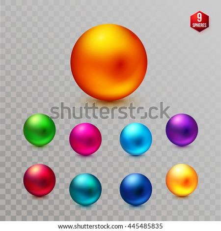 set of nine multicolored