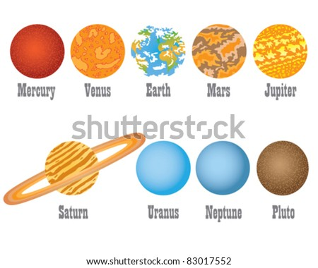 Set of nine planets from solar system on the white background