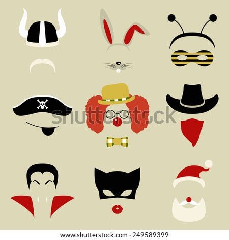 set of nine retro party masks