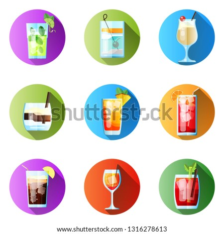 set of nine round icons with