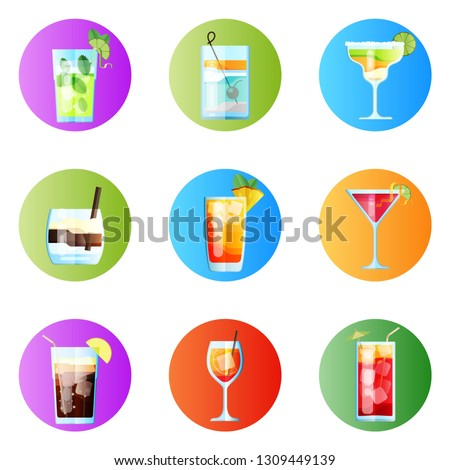 set of nine rounded images