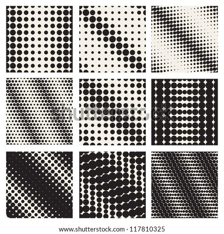 Set of nine seamless patterns. Diagonal dots. Vector repeating texture, Geometric mesh