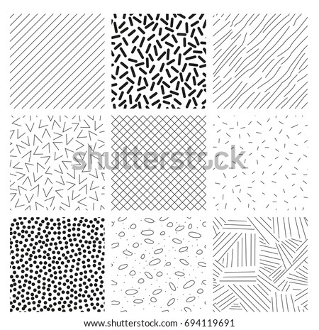 Set of nine seamless patterns for backgrounds and decorations. Simple shapes, black and white vector image.