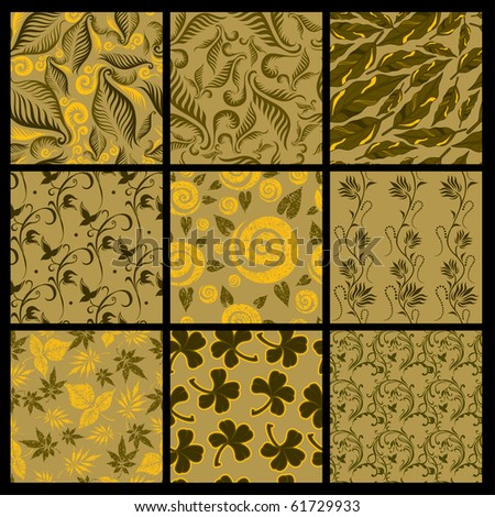 """Set of nine Seamless vector autumn patterns from leaves. Thanksgiving (from my big """"Seamless collection"""")"""