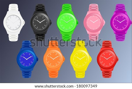 set of nine silicone colorful