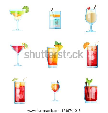 set of nine tropical cocktails