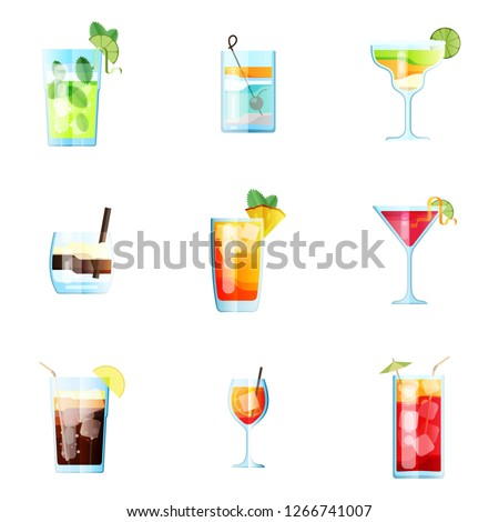 set of nine tropical cocktails