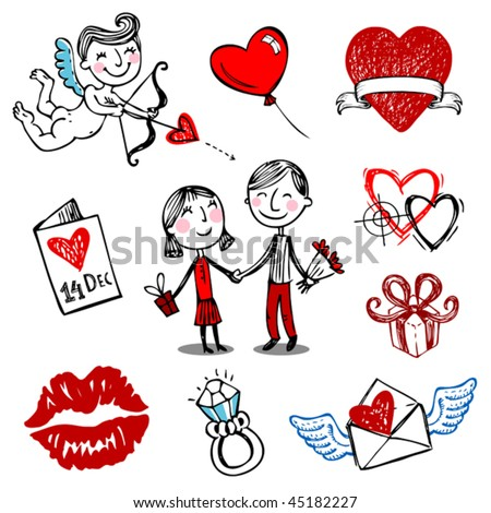 Set of nine Valentine vector illustrations, hand drawn style.