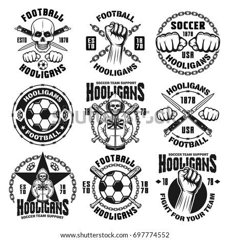 set of nine vector football or