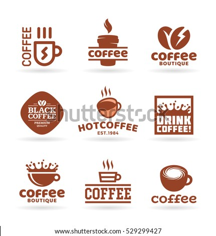set of nine vector labels