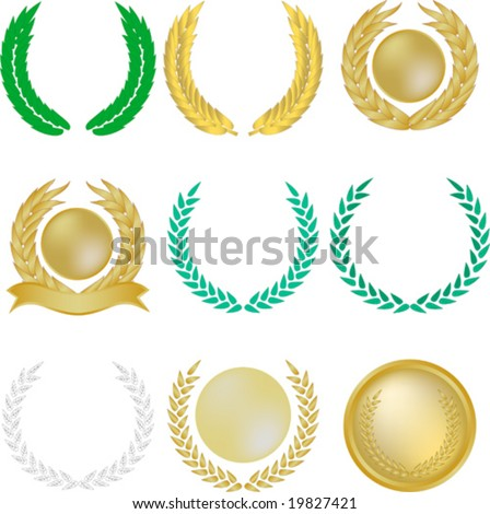 Set of nine vector laurel wreaths and banners