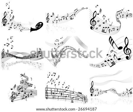 Set of  nine vector musical notes staff