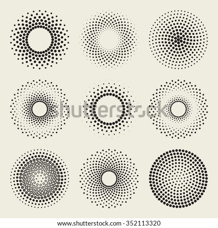 Set of Nine Vector Radial Gradient Halftone Sunburst Circle Shape Stippling Abstract Design Elements