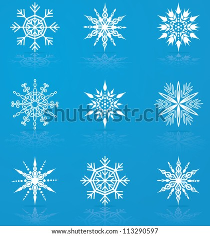 Set of nine vector snowflakes for christmas design