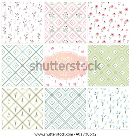 set of nine vintage flower with check, cute floral vector pattern background