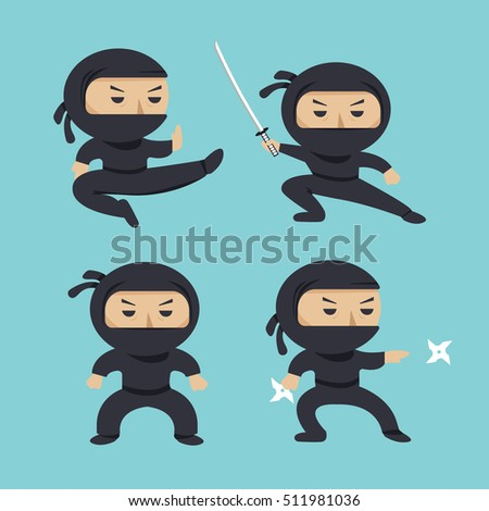 set of ninja characters showing
