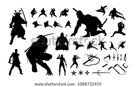 set of ninja silhouette vector